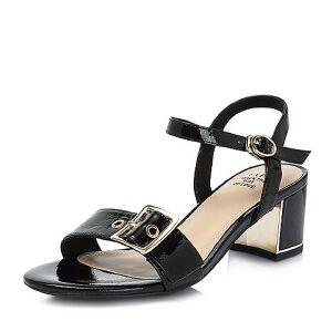 Tata/他她2018夏专柜同款牛皮革通勤一字带粗高跟女凉鞋2IC16BL8