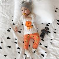 婴儿套装新生儿春秋卡通两件套1岁3个月6男宝宝纯棉薄款长袖+裤子