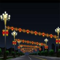 过年路灯杆装饰灯图案灯美食街街灯户外防水