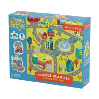 Around the Town Puzzle Play Set 小镇 英文原版 拼图游戏组合 36块拼图+8个摆件 儿