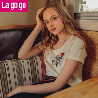 Lagogo/拉谷谷2019夏季新款刺绣图案圆领小心机上衣T恤HATT314A05