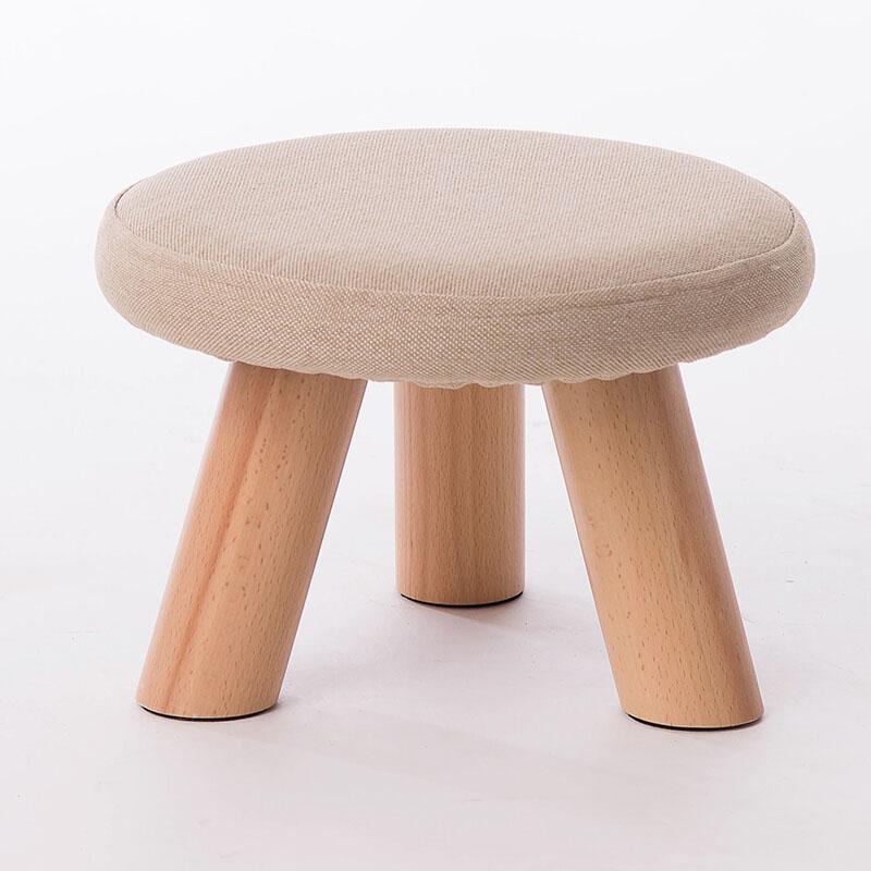 【包邮】 家逸实木凳子小凳子 布艺沙发凳圆凳 小板凳 小凳子实木餐凳蘑菇凳椅子电脑椅Q萌实木沙发小凳子