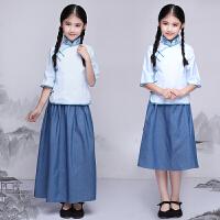 儿童民国学生装五四青年装民国风班服演出服古装服装女童棉麻春款