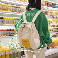 chic书包女高中大学生简约百搭双肩包2019新款可爱卡通帆布背包潮