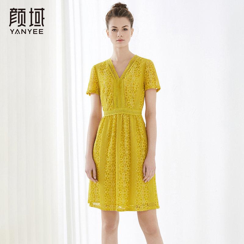 颜域新款V领短袖连衣裙女钩花镂空蕾丝裙2018夏季裙子品牌女装