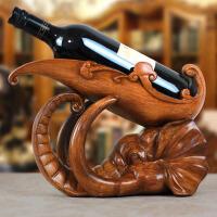 家居摆设工艺品酒柜装饰品摆件大象头红酒架欧式创意 008大象酒架-仿木色