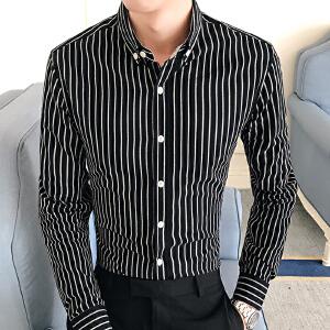 春季新款潮流男装条纹小方领休闲衬衫韩版衬衣商务43