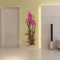 亚克力3d立体墙贴家装饰品卧室玄关客厅电视背景墙兰花壁纸贴画
