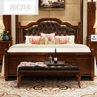 ZUCZUG美式床主卧实木床1.8米双人床欧式家具乡村简约床卧室简欧床1.5米 1800mm*2000mm 箱框结构