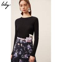 Lily春女装商务CHIC粉紫装饰腰带小腰包1191FZ441