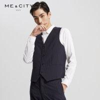 【5.15日抢购价:75】MECITY男装春秋新款羊毛竖条纹商务绅士马甲