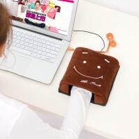 伊暖儿 新品USB保暖发热暖手鼠标垫-Mr.SMILE笑脸(棕色带护腕型)