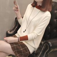 打底毛衣女套头短款宽松韩版拼色秋冬针织衫长袖半高领打底衫