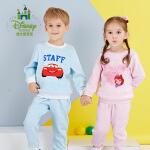 迪士尼 童装男女童套装秋款肩开扣加绒宝宝保暖外出服173T708