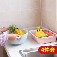 家用素色双层沥水篮长方形洗菜盆 厨房洗菜篮子塑料水果盆沥水盆