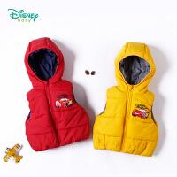 迪士尼Disney童装 秋冬新款儿童马甲防风带帽上衣男宝宝麦昆休闲运动保暖外套184S974