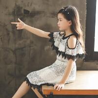 女童连衣裙夏款新款儿童夏季公主裙中大童洋气蕾丝露肩裙子潮