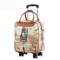 拉杆旅行包女手提包韩版短途轻便大容量行李包女旅游包登机拉杆包 巴黎印象 万向轮