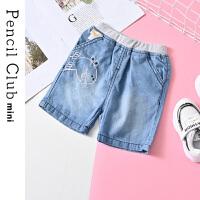 【2件4折:35.6】铅笔俱乐部童装2020夏装新款男童短裤小童牛仔中裤儿童裤子