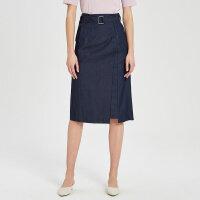 【2件1.5折价:74.9】纯棉MECITY女装不规则中长款腰带半身裙
