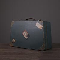 复古木质手提箱三件套摆件客厅样板房橱窗陈列英伦做旧皮箱装饰品