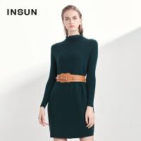 INSUN/恩裳时尚堆堆领修身显瘦100%羊毛长袖连衣裙2017秋季新款