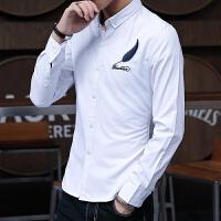 施衣品2017秋季新款男士长袖衬衫纯色羽毛刺绣青少年修身C212-992