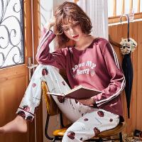 草莓睡衣女春秋季长袖薄款韩版清新学生甜美全棉家居服套装夏