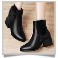 古奇天伦内增高貂毛女靴子侧拉链纯色女短靴防水台女鞋子 GQ8528