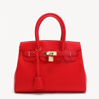 包包新款女包单肩斜挎包铂金包欧美女士手提包结婚红色新娘包 红色大号 有锁 9029#