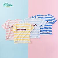 【99元3件】迪士尼Disney童装 女宝宝纯棉条纹短袖2019夏季新品女童公主印花T恤百搭192S1116