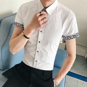 夏季2017寸衫潮流百搭韩版衬衣气质帅气休闲短袖衬衫男