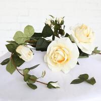 绢花绒布仿真花手感香水玫瑰花假花装饰花客厅家居摆设花卉 大朵