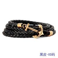 520手链男潮欧美学生个性手串男手工编织手绳男士手链皮船锚手链