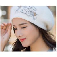 新款韩版时尚兔毛针织套头帽潮百搭保暖刺绣烫钻贝雷帽子女