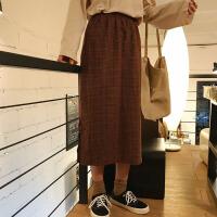 春装女装韩版学院风复古格子高腰半身裙开叉长裙显瘦中长款一步裙