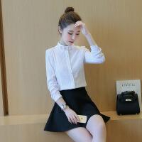 韩范白衬衫女长袖韩版宽松百搭学生衬衣 白色