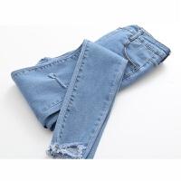 2018春季韩版浅色破洞毛边小脚黑色牛仔裤女高腰修身铅笔长裤