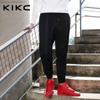 kikc针织裤男2017冬季新款黑色潮流时尚运动卫裤休闲修身收脚裤男