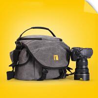 A1242单反相机包单肩摄影包斜跨帆布佳能相机包单反单肩包s6 炭黑色小号3代