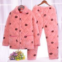 睡衣冬女珊瑚绒加厚三层夹棉可爱棉袄韩版学生清新家居服两件套装