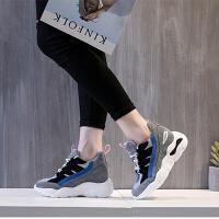 秋季隐形内增高运动鞋女新款2018百搭显瘦韩版厚底老爹鞋8cm