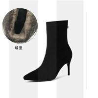 中筒靴女高跟2018秋冬韩版女靴尖头黑色真皮加绒瘦腿弹力细跟短靴SN0226 黑色绒里细跟 8cm