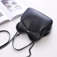 新款韩版潮女包锁扣包夹子包可爱米奇耳朵包单肩斜挎链条小包 黑色大号升级版 送眼镜包