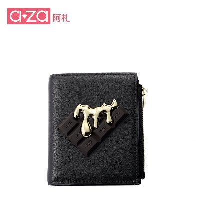 aza阿札巧克力元素简约短款两折零钱袋多功能钱包9505娇小身材 便携钱包