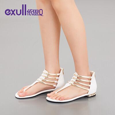 依思q凉鞋女夏休闲平底女凉鞋