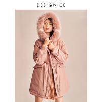 【2折�⒖�r:540】迪�尼斯冬季新款羽�q派克服女中�L款大毛�I�B帽�n版收腰外套