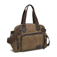 帆布包 男包手提包单肩包斜挎包休闲横款大包 男士包包背包大容量