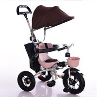 儿童三轮车脚踏车1-3-5岁宝宝婴幼儿童手推车轻便可折叠 咖色 (钛空轮+蓬+包)