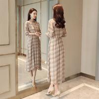 格子连衣裙女长裙2018春季新款韩版钉珠灯笼袖长袖高腰修身显瘦潮 卡其色zw80 M